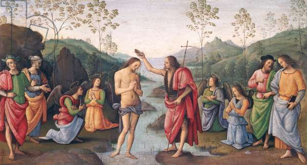 The Baptism of Christ, from the Convent of San Pietro, Perugia, 1496-98 (oil on panel)