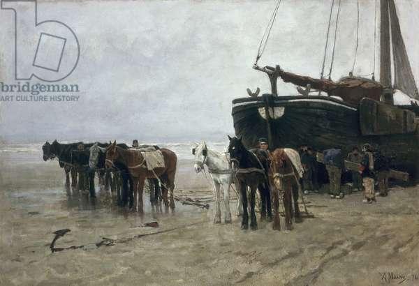 Boat on the Beach at Scheveningen, 1876 (oil on canvas)