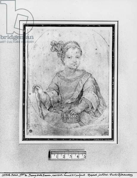 Portrait of Louis XIV as a child (red chalk on paper)