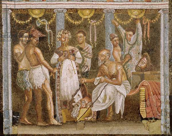 Actors rehearsing for a Satyr play, c.62-79 AD (mosaic) (see also 5035)