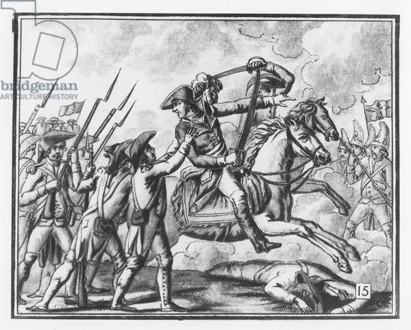 Death of General Joubert at the Battle of Novi, 1799 (litho)