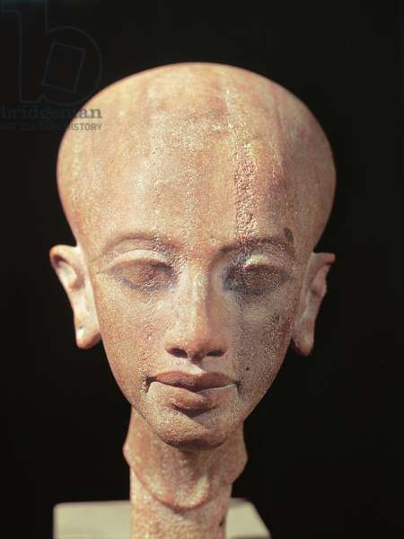 Portrait bust of a daughter of King Akhenaten (1353-1337 BC) c.1375 BC (stone) (see also 160148)