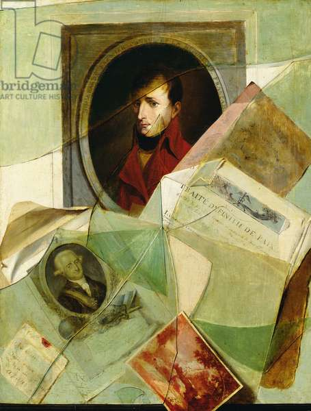 'Traite Definitif de Paix', trompe l'oeil on the subject of the restitution of Louisiana to France including signatures and portraits of Napoleon (1769-1821) and Charles IV (1748-1819) 1801 (oil on canvas)