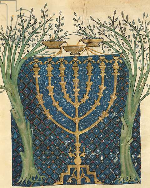 Illumination of a menorah, from the Jewish Cervera Bible, 1299 (vellum)