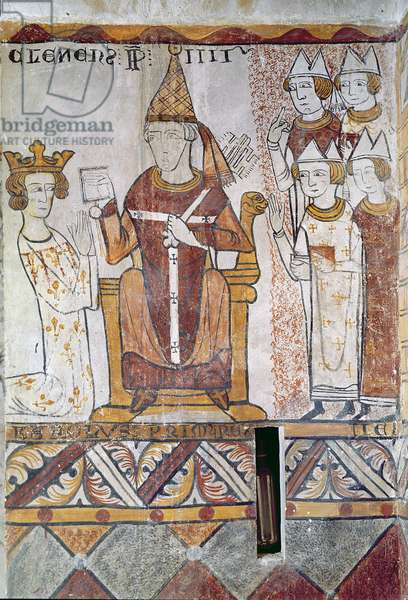 Pope Clement IV (c.1195-1268) Investing Charles of Anjou (1226-85) with the Kingdom of Sicily, 28th June 1265 (fresco)