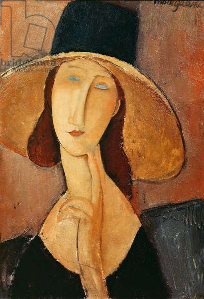 Portrait of Jeanne Hebuterne in a large hat, c.1918-19 (oil on canvas)