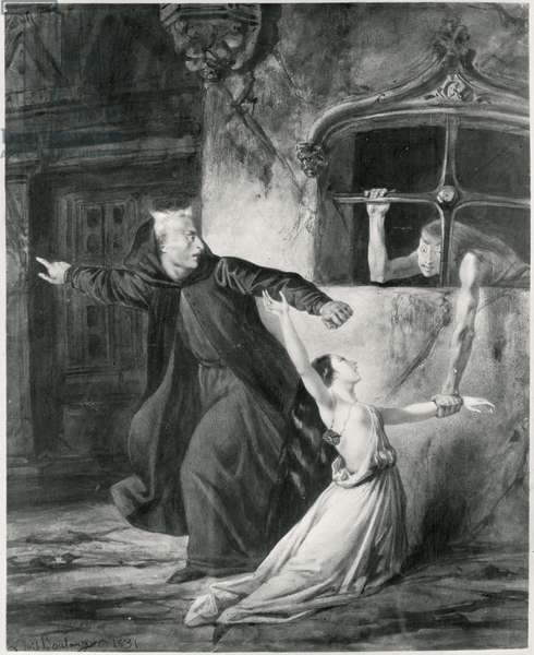 Sachette, Esmeralda and Claude Frollo, illustration to 'The Hunchback of Notre Dame' by Victor Hugo (1802-85), 1831 (w/c) (b/w)