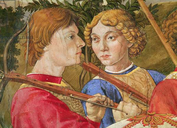 Procession of the Magi, procession led by Lorenzo the Magnificent in the guise of the Magus Caspar, detail of the heads of two crossbowmen, 1459-1462 (fresco)
