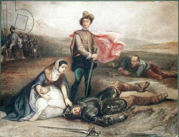 The Death of Julian Avenel (w/c on paper)