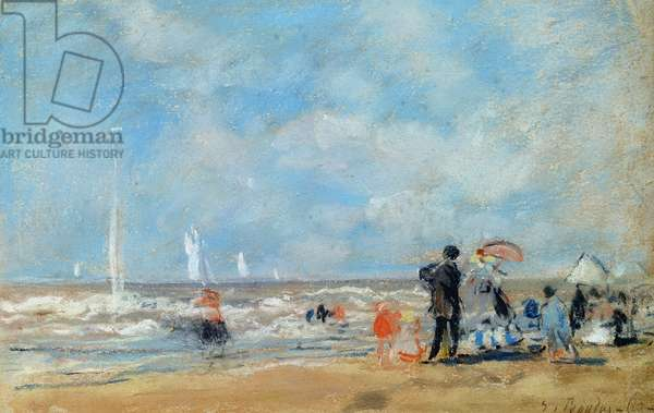 On the Beach, 1863 (w/c & pastel on paper)
