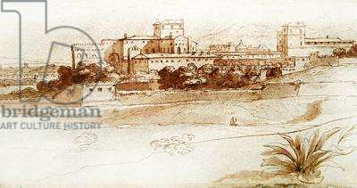 View of a small Italian town, c.1630 (pen & wash)