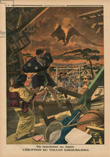 A cataclysm in Japan, Eruption of the Sakura-jima volcano, back cover illustration from 'Le Petit Journal', supplement illustre, 1st February 1914 (photo)