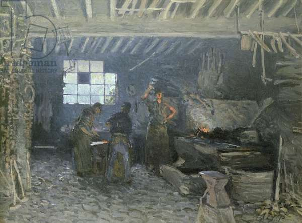 The Forge at Marly-le-Roi, Yvelines, 1875 (oil on canvas)