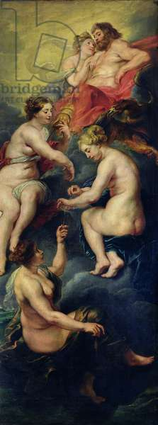 The Medici Cycle: The Three Fates Foretelling the Future of Marie de Medici (1573-1642) 1621-25 (oil on canvas)