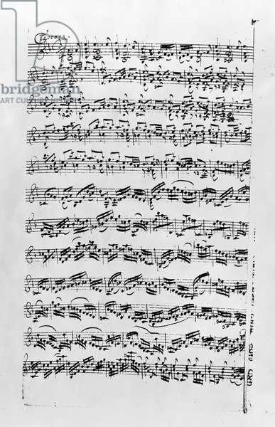 Copy of 'Partita in D Minor for Violin' by Johann Sebastian Bach (1685-1750) (litho) (b/w photo)