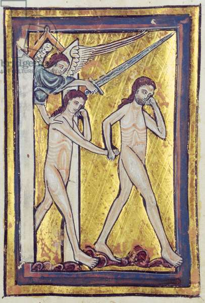 Adam and Eve banished from Paradise, from a book of Bible Pictures, c.1250 (vellum)