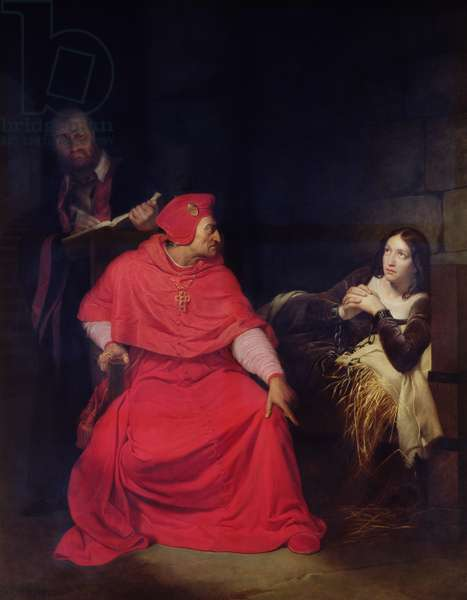 Joan of Arc (1412-31) and the Cardinal of Winchester in 1431, 1824 (oil on canvas)
