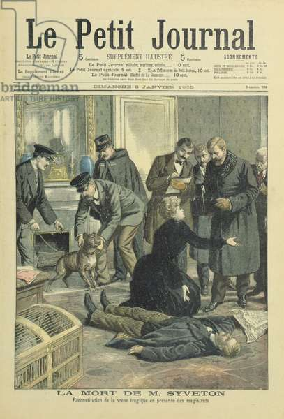 Reconstruction of the death of Gabriel Syveton, cover illustration from 'Le Petit Journal', 8 January. 1905 (colour litho)