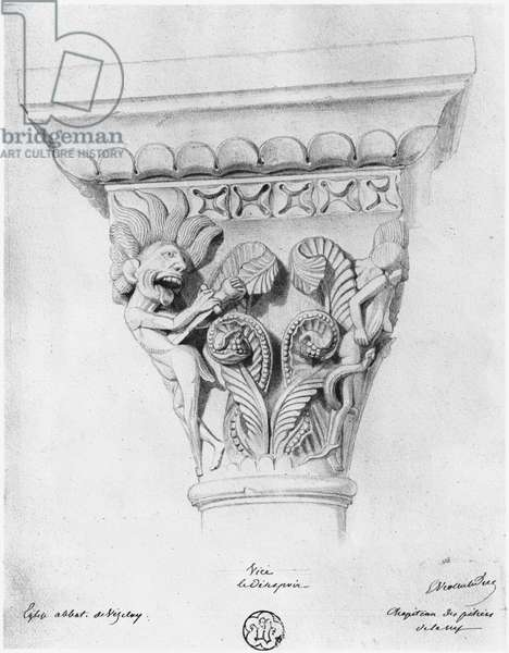 Capital illustrating the vice of despair, Abbey Church of La Madeleine, Vezelay, France (pencil on paper)