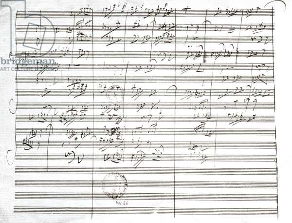 Score for the 3rd Movement of the 5th Symphony (pen & ink on paper) (b/w photo)