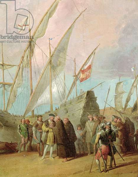 Departure of Christopher Columbus (1451-1506) from Palos, detail of the central group (oil on canvas) (see also 161069)