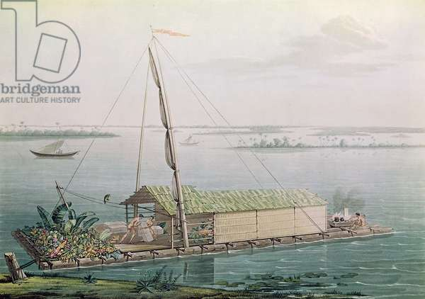 Raft on the Guayaquil River, from 'Voyages aux Regions Equinoxiales du Nouveau Continent' by Alexander de Humboldt (1769-1859) engraved by Michel Bouquet (1807-90) published in 1814 (coloured engraving)