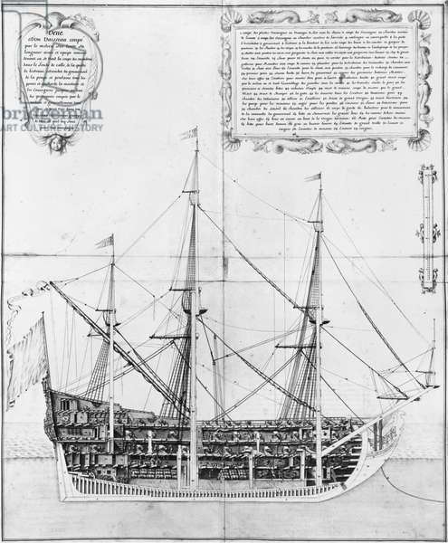 Longitudinal cross-section of an armed and equipped vessel, illustration from the 'Atlas de Colbert', plate 47 (pencil & w/c on paper)
