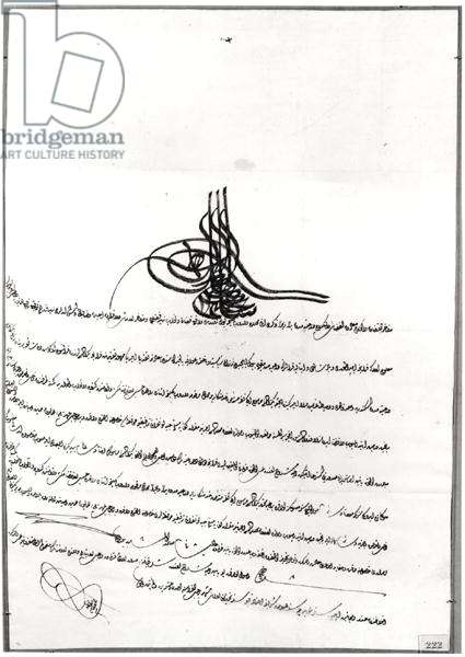Document giving Safe-Passage given to Rene de Chateaubriand (1768-1848) by Sultan Selim III (1761-1808) 14-23 September 1806 (pen and ink on paper) (b/w photo)