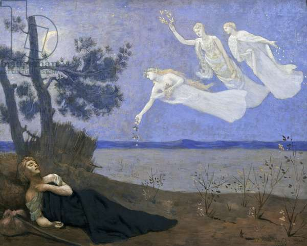"""The Dream: """"In his sleep he saw Love, Glory and Wealth appear to him"""", 1883 oil on canvas)"""