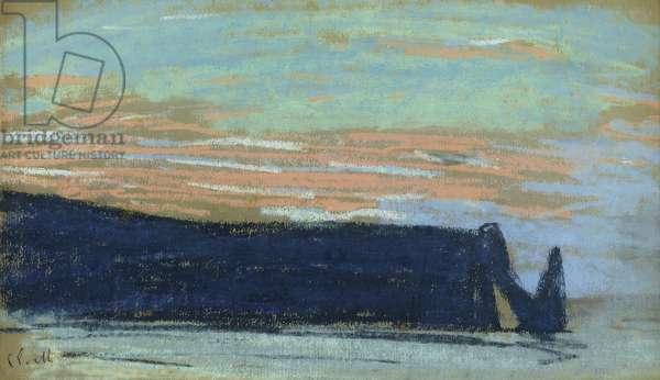 The Cliff at Etretat, c.1885 (pastel)