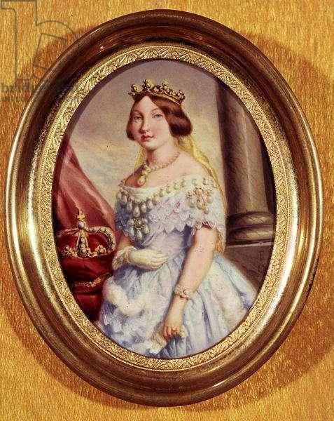 Miniature portrait of Queen Isabella II (1830-1904) (oil on canvas)