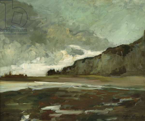 Les Falaises at Dieppe (oil on canvas)