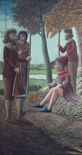 Louis XI (1423-83) Planting Mulberry Trees near Tours, 1943 (oil on canvas)
