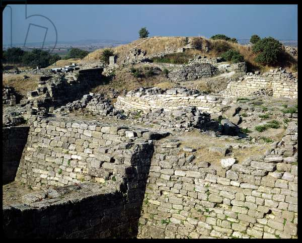 The Mound of Hissarlik, the site of the ancient city of Troy, 3000-1100 BC (photo)