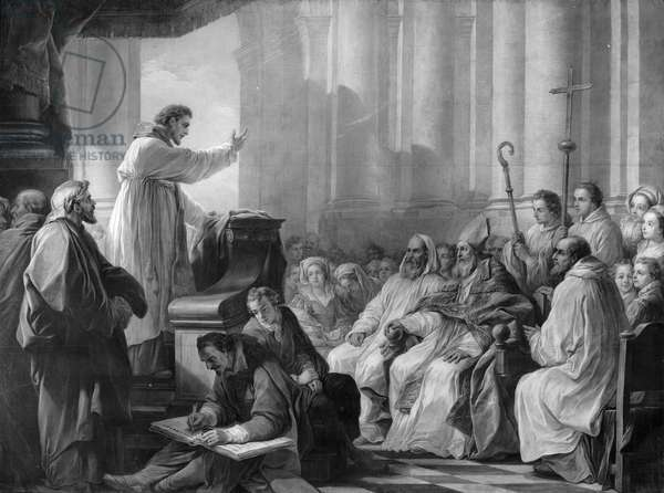 St. Augustine preaching before Valere, Bishop of Hippo (oil on canvas) (b/w photo)