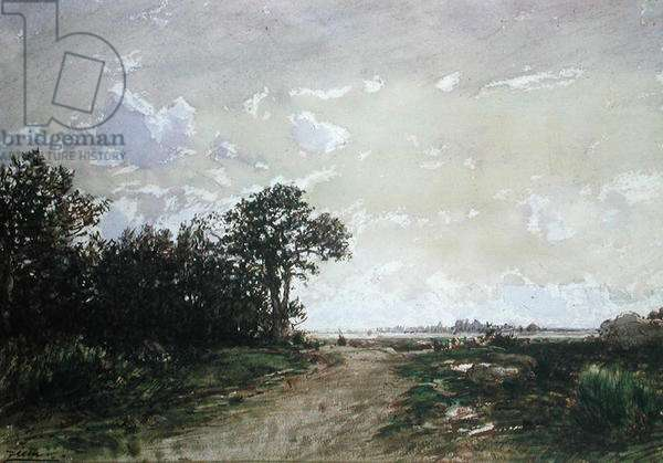 The Forest of Fontainebleau, near Barbizon (w/c on paper)