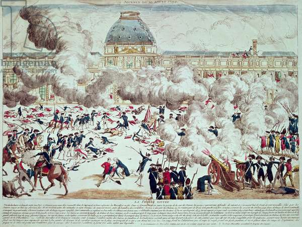 Attack on the Tuileries, 10th August 1792 (coloured engraving)
