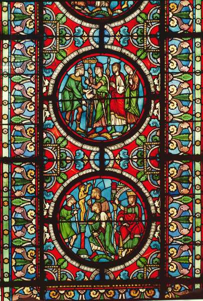 Window depicting scenes from the life of St. Maurice, 12th-13th century (stained glass)