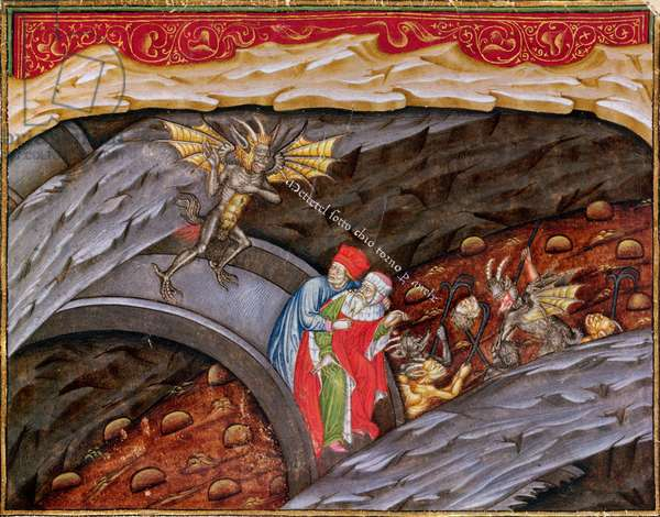 Ms 2017 f.245 Dante's Inferno with a commentary by Guiniforte degli Bargigi (vellum) ca. 1440