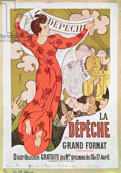 Poster advertising 'La Depeche de Toulouse' newspaper, 1892 (colour litho)