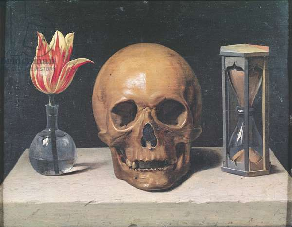 Vanitas Still Life with a Tulip, Skull and Hour-Glass (oil on panel)