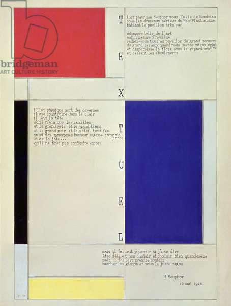 Tableau-Poeme, with text by Michel Seuphor, 1928 (pencil, pen, ink & gouache on cardboard)