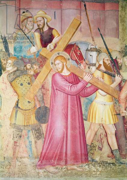 The Road to calvary, detail of Christ carrying the cross, c.1365 (fresco) (detail of 130096)