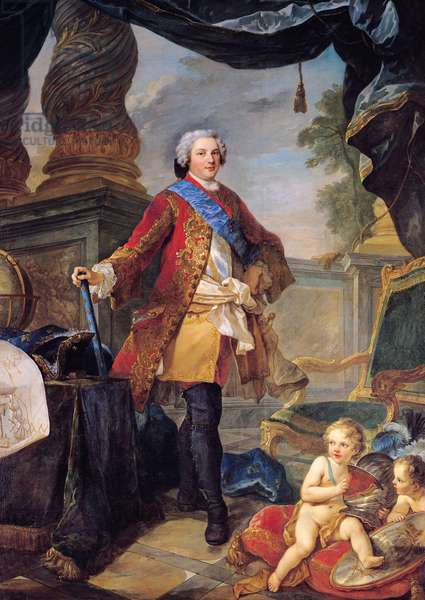 Louis (1729-65) Dauphin of France with a Plan of the Siege of Tournai, 1747 (oil on canvas)