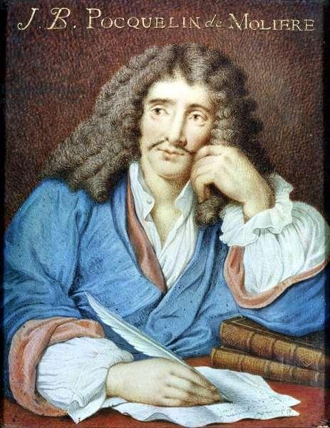 Portrait of Moliere (1622-73) (w/c on paper)