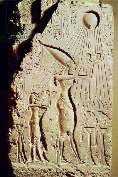 Relief depicting Amenophis IV (Akhenaten) (c.1364-47 BC), Nefertiti and their Daughter, Meritaton, Making an Offering to Aten, from the Royal Palace at Tell El-Amarna (alabaster)