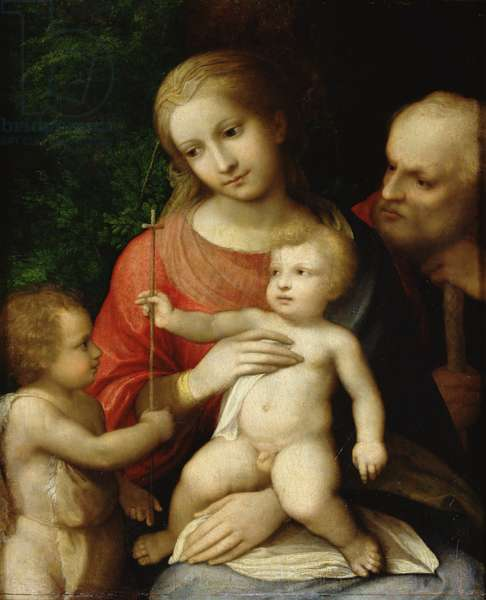 The Virgin and Child surrounded by St John the Baptist and St Joseph, 1517 (oil on wood)