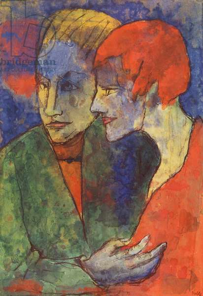 Young Couple, 1931-35 (w/c on card)