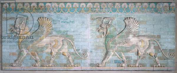 Two Winged Griffins, from the Palace of Artaxerxes, Susa, Achaemenian Period, 6th-5th century BC (polychrome glazed bricks)