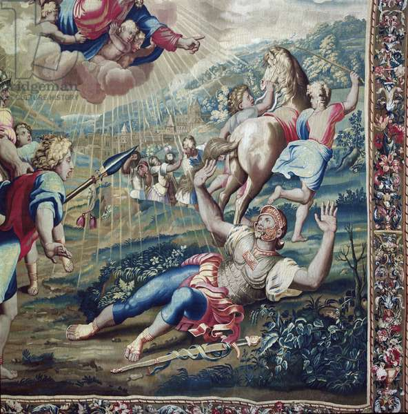 Tapestry depicting the Acts of the Apostles, the Conversion Saint Paul (detail of Saint Paul stretched out on the floor, arms raised to the sky), woven at the Beauvais Workshop under the direction of Philippe Behagle (1641-1705), 1695-98 (wool tapestry)
